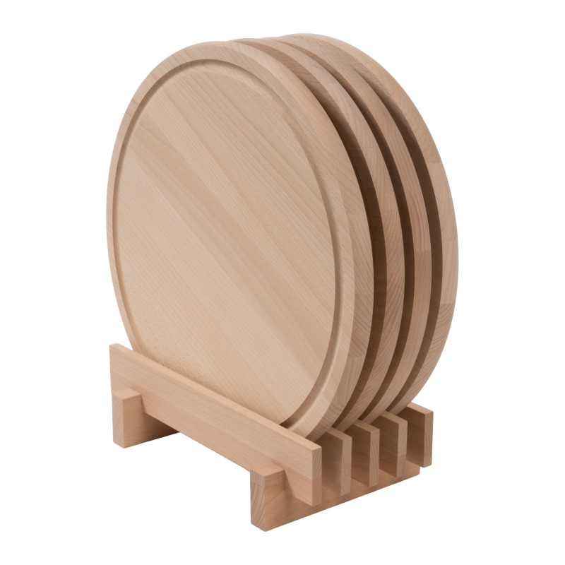 Set of 4 pizza board breakfast board round diameter 36 cm 1.9 cm thick beech steamed