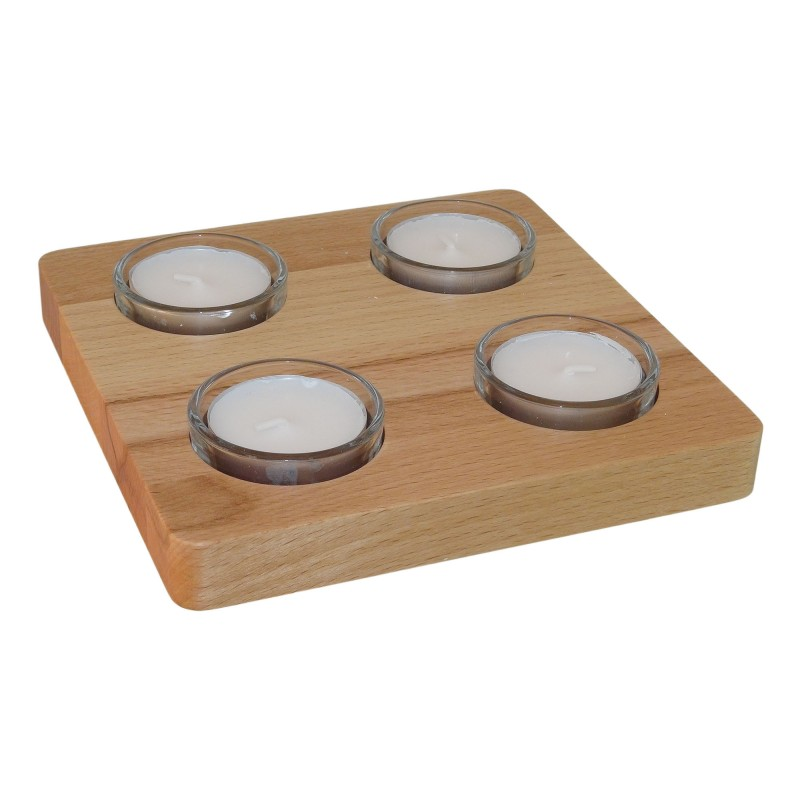 4 tealight candle core beech, 15.8 x 15.8 x 1.6 cm, total height 3 cm