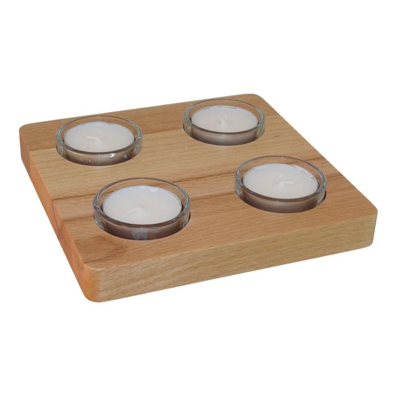 4 er Teelichthalter Kernbuche, 15,8 x 15,8 x 1,6 cm, Gesamthöhe 3 cm