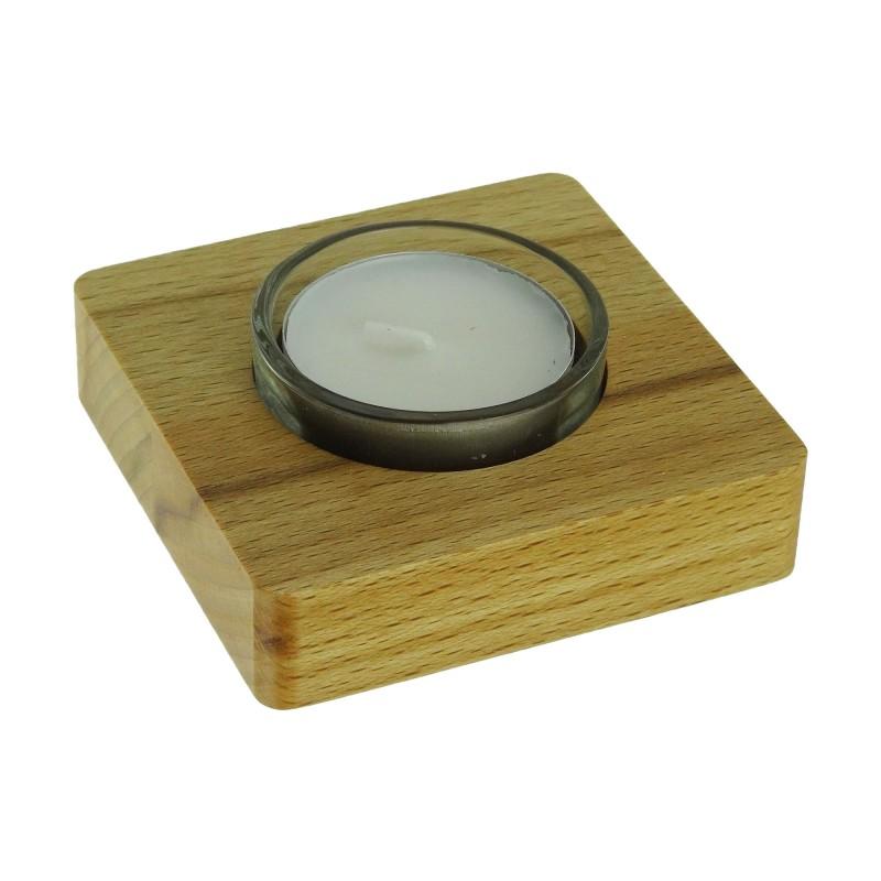 4 Stück Teelichthalter Kernbuche, 7,8 x 7,8 x 1,9 cm, Gesamthöhe 3 cm