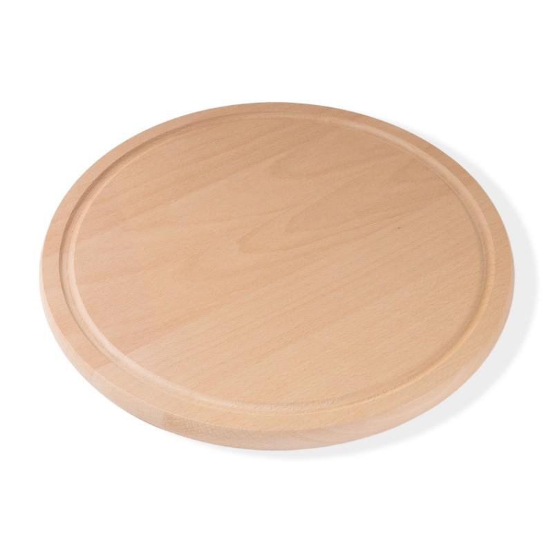 B-Ware, Pizzabrett Frühstücksbrett rund Durchmesser 32 cm 1.9 cm dick Buche gedämpft